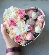 Коробочка сердце с цветами (среднее)